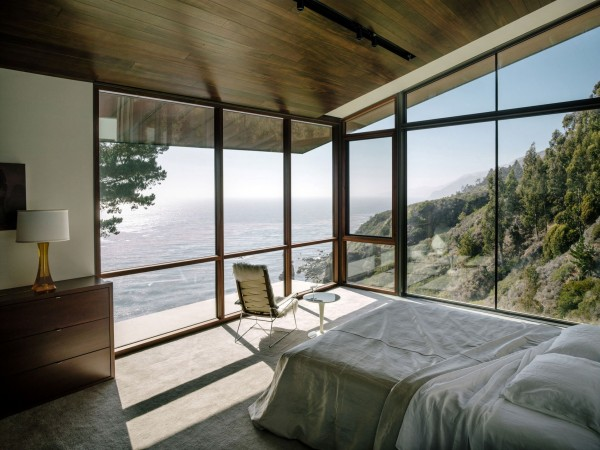 Master bedroom with glass walls-Spectacular Contemporary Glazed Lakeside Home in California