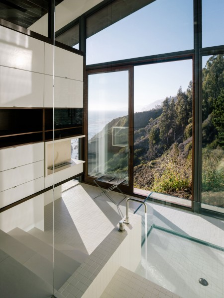 Minimalist bathroom with glass walls-Spectacular Contemporary Glazed Lakeside Home in California