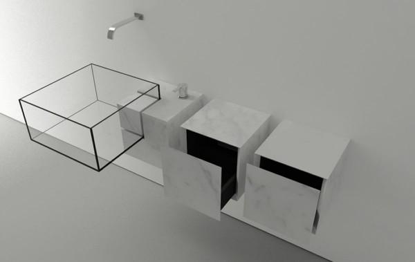 Modern minimalist bathroom Kub Basin with marble storages-Modern bathroom equipment design by Victor Vasilev