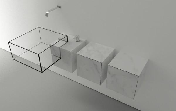 Modern minimalist bathroom glass sink with marble storages-Modern bathroom equipment design by Victor Vasilev