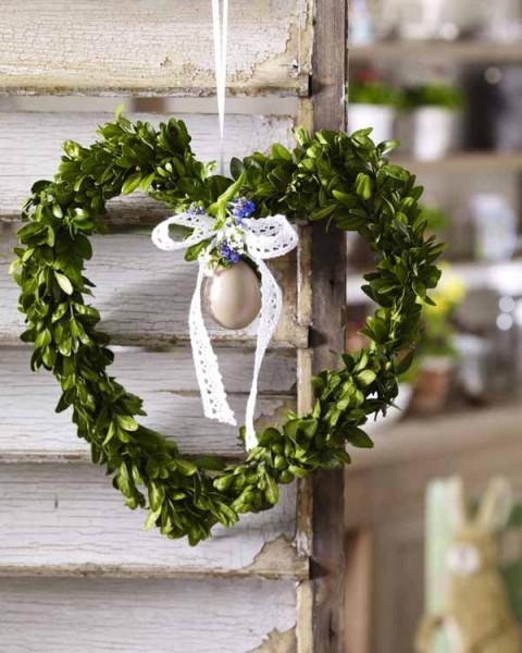 Natural green front door Easter wreath - 44 Home Decoration Ideas for table, living room and door