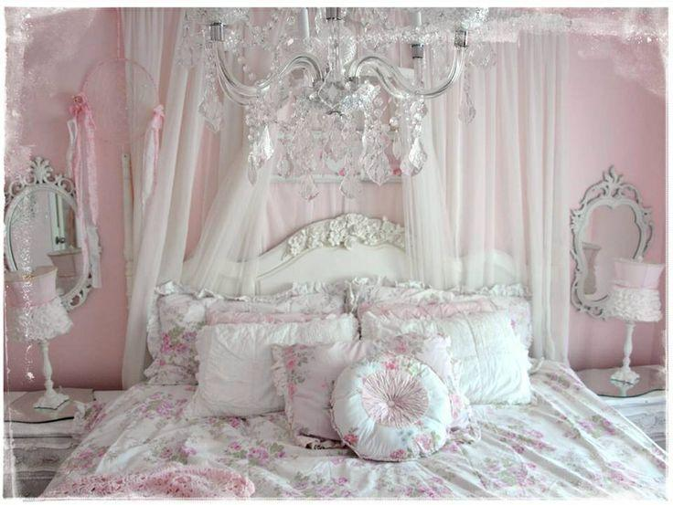Romantic Bedroom in white and pink colors | | Founterior