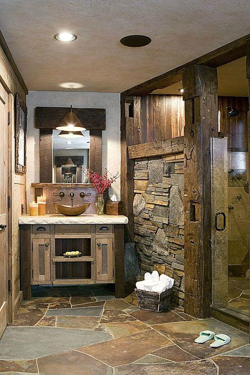 Rustic Bathroom with wood beams and stone cladding-Rough, yet elegant and authentic Private Room