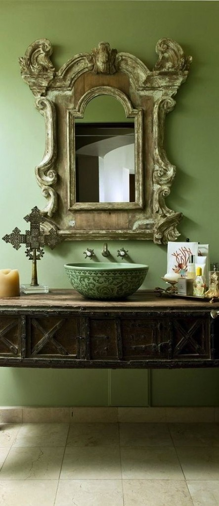 Rustic bathroom in solid green-Rough, yet elegant and authentic Private Room
