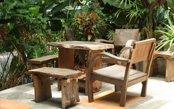 Rustic looking small outdoor chairs and table-Sweet and Interesting Patio and Garden Furniture Ideas