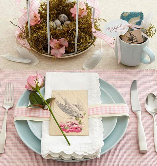 Shabby chic inspired setting-Unique, Fresh and Exciting Easter Table Decoration Ideas