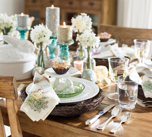 Stylish natural pod for Easter table plates - 44 Home Decoration Ideas for table, living room and door