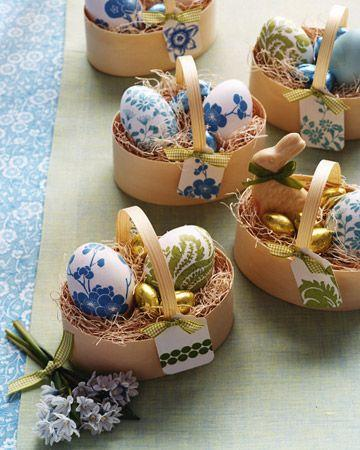 Sweet little card paper baskets full of festive eggs-Unique, Fresh and Exciting Easter Table Decoration Ideas