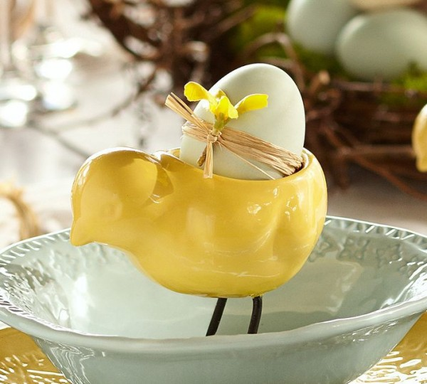 Sweet yellow chic egg cup - 44 Home Decoration Ideas for table, living room and door