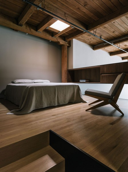 The master bedroom in loft in nature-inspired tones-The interior design of a contemporary property in San Francisco