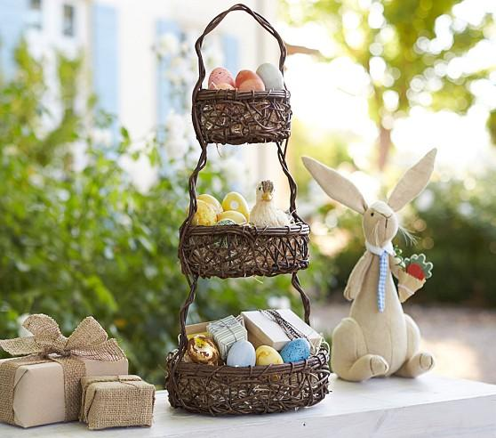 Tiered Vine Basket Centerpiece holding colored eggs