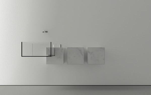 Trendy white minimalist bathroom sink-Modern bathroom equipment design by Victor Vasilev