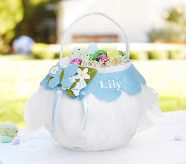 Tulle Puffy Easter Bag holding colorful eggs