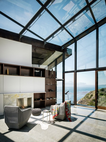 Ultra-modern living room with glass ceiling and walls-Spectacular Contemporary Glazed Lakeside Home in California