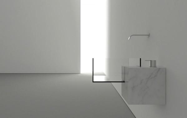 Ver y simple minimalist bathroom with modern sink-Modern bathroom equipment design by Victor Vasilev