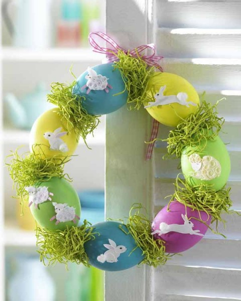 Very funny and colorful hand-crafted Easter wreath - 44 Home Decoration Ideas for table, living room and door