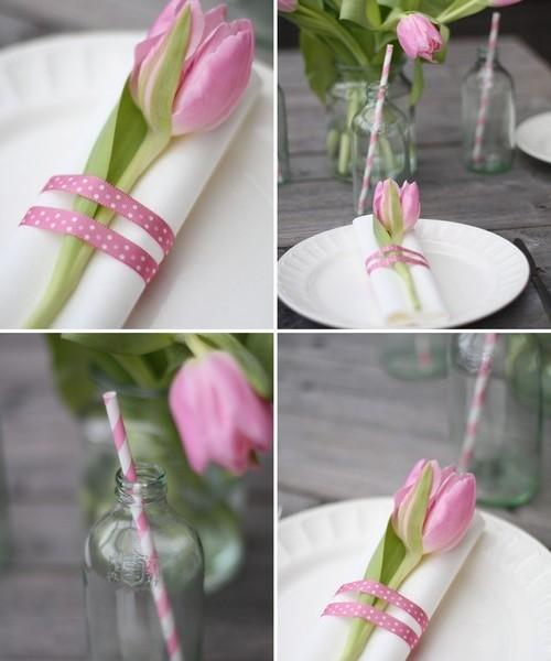 White linen napkin and pink tulip wrapped with pink and white dotted ribbon-Unique, Fresh and Exciting Easter Table Decoration Ideas