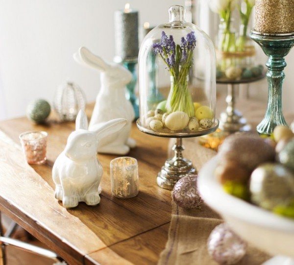 White porcelain Easter bunny items - 44 Home Decoration Ideas for table, living room and door