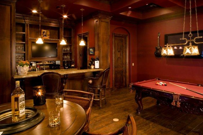 Man Cave Drinks Bar : A man cave with bar leather stools drinks and pool