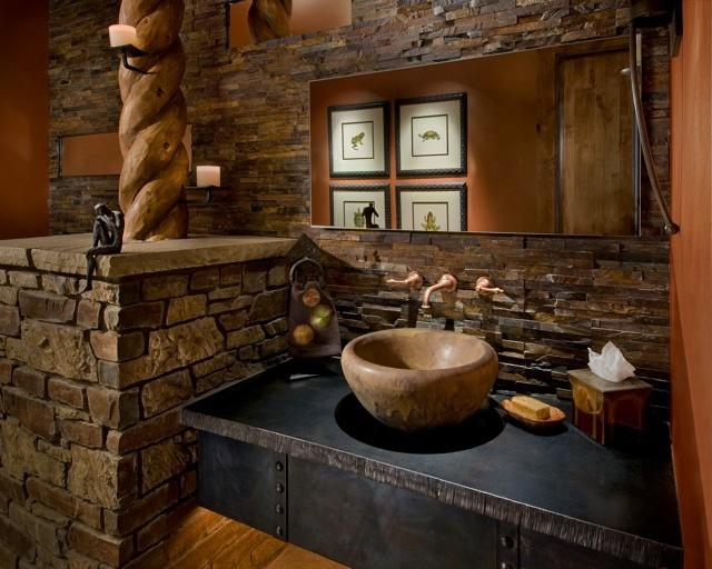 Authentic Rustic Bathroom With Wood Vanity And Copper Faucet Rough Yet Elegant