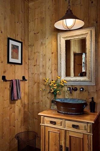 bathroom with a rustic barn interior and chic ambiance-Rough, yet elegant and authentic Private Room