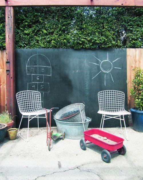 black-chawkboard-on-the-garden-fence- Contemporary Outdoor Garden Ideas