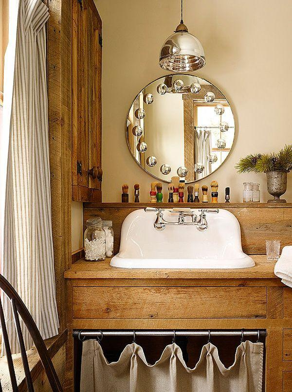 classic-inspired rustic bathroom vanity with oval mirror-Rough, yet elegant and authentic Private Room