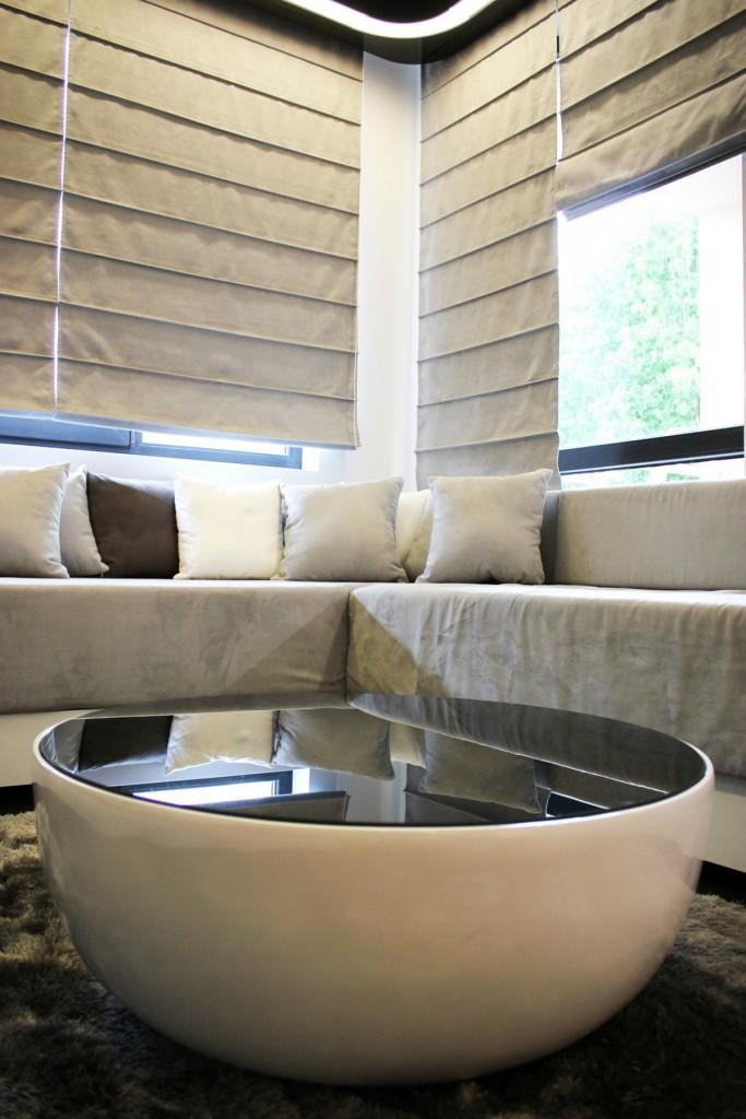 contemporary black and white coffee table-Interior Design of Apartment in Bulgaria