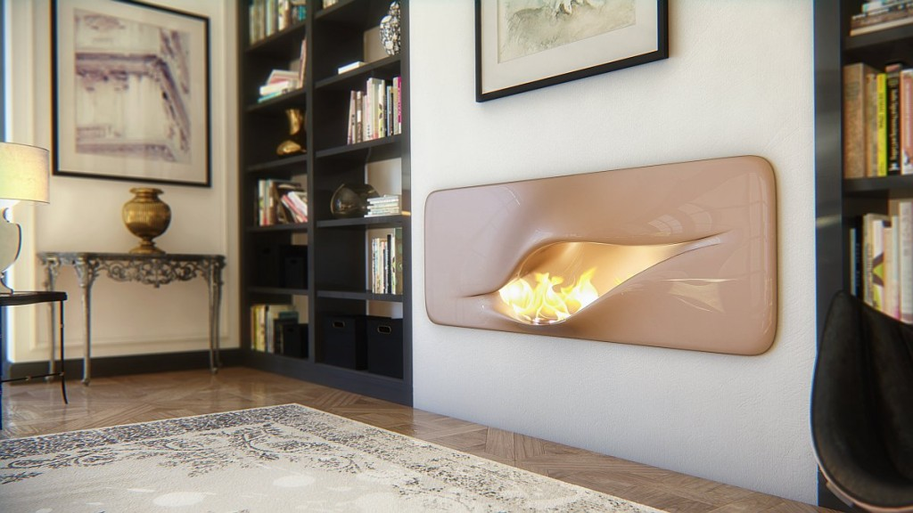 contemporary fireplace in a futuristic home-Contemporary installations for warmth in home