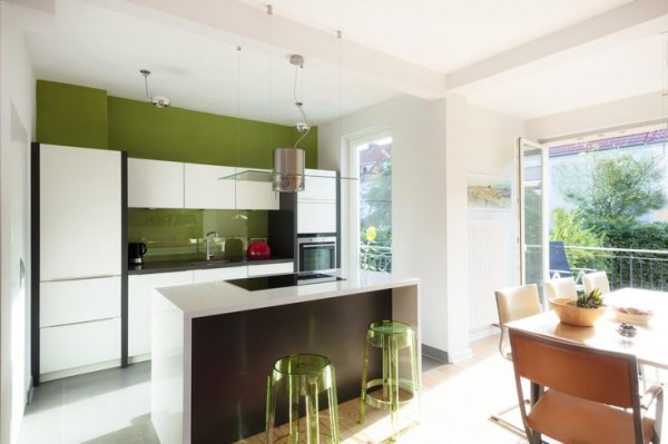 contemporary-kitchen-in-fresh-green-and-white-colors- Interior Design and Furniture trends for cooking areas