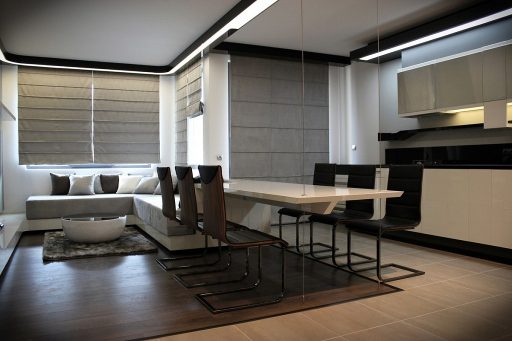 contemporary open plan living, dining room and kitchen-Interior Design of Apartment in Bulgaria