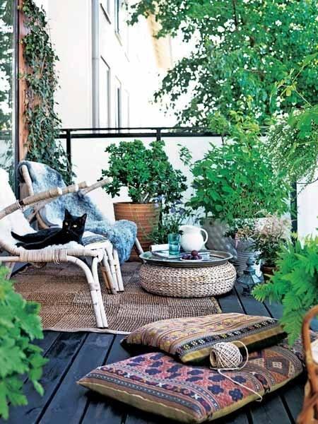 cozy-patio-furniture-made-out-of-bamboo- Contemporary Outdoor Garden Ideas