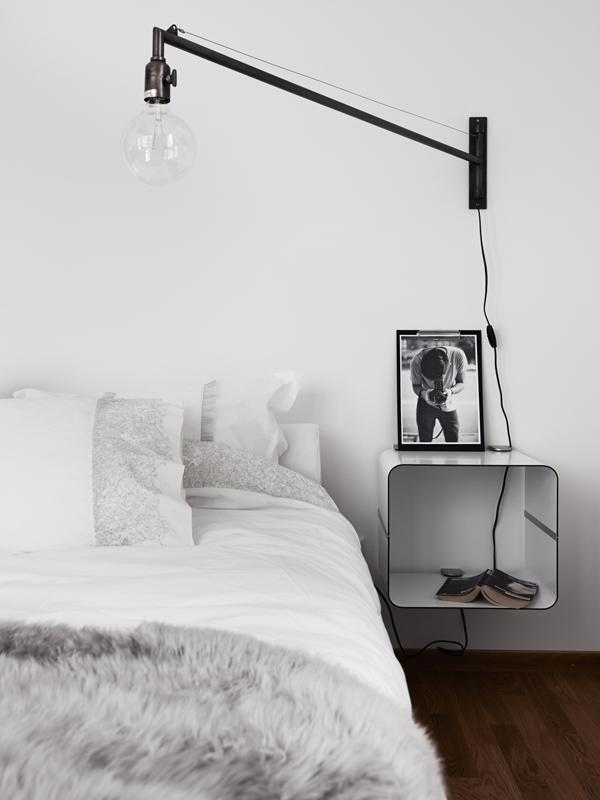 creative bedside table with night lamp- Minimalist Small Apartment Interior Design