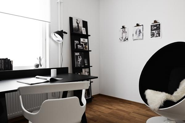 elegant black and white home office- Minimalist Small Apartment Interior Design