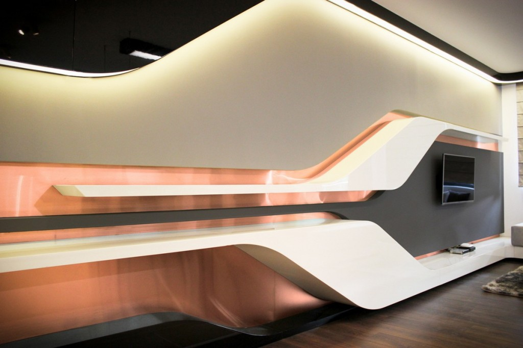 futuristic TV wall showing dynamic surface-Interior Design of Apartment in Bulgaria