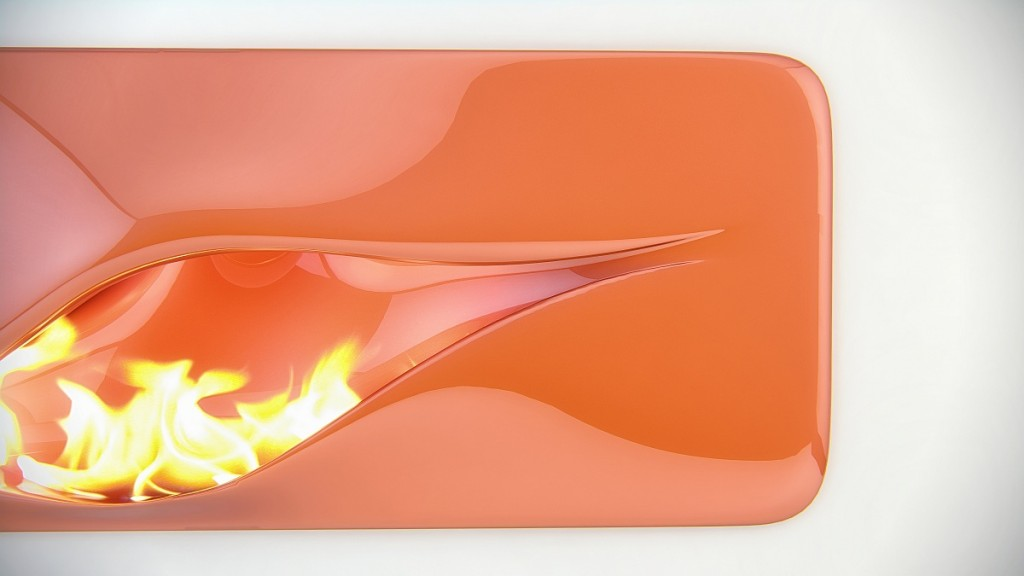futuristic fireplace in reddish color-Contemporary installations for warmth in home