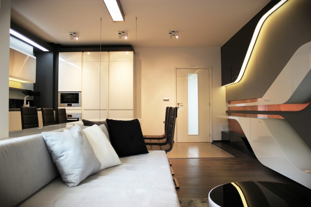 futuristic small apartment interior design in bulgaria | founterior