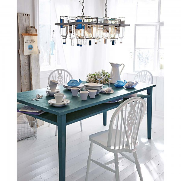 green-wooden-table-and-white-contemporary-chairs-and-creative-pendant-above-them- 21 Creative and Functional Home Furniture Examples