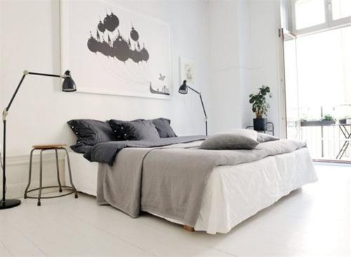 grey and white color-inspired bedroom-17 Stirring Minimalist Bedroom Interior Design Images