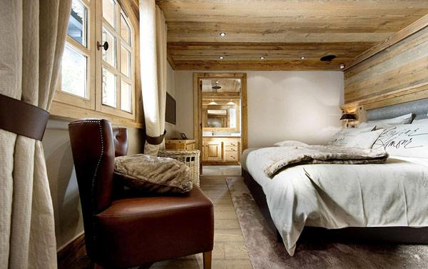 guest-room-in-a-rustic-mountain-lodge-in-the-French-Alps- Le Petit Chateau in the French Alps