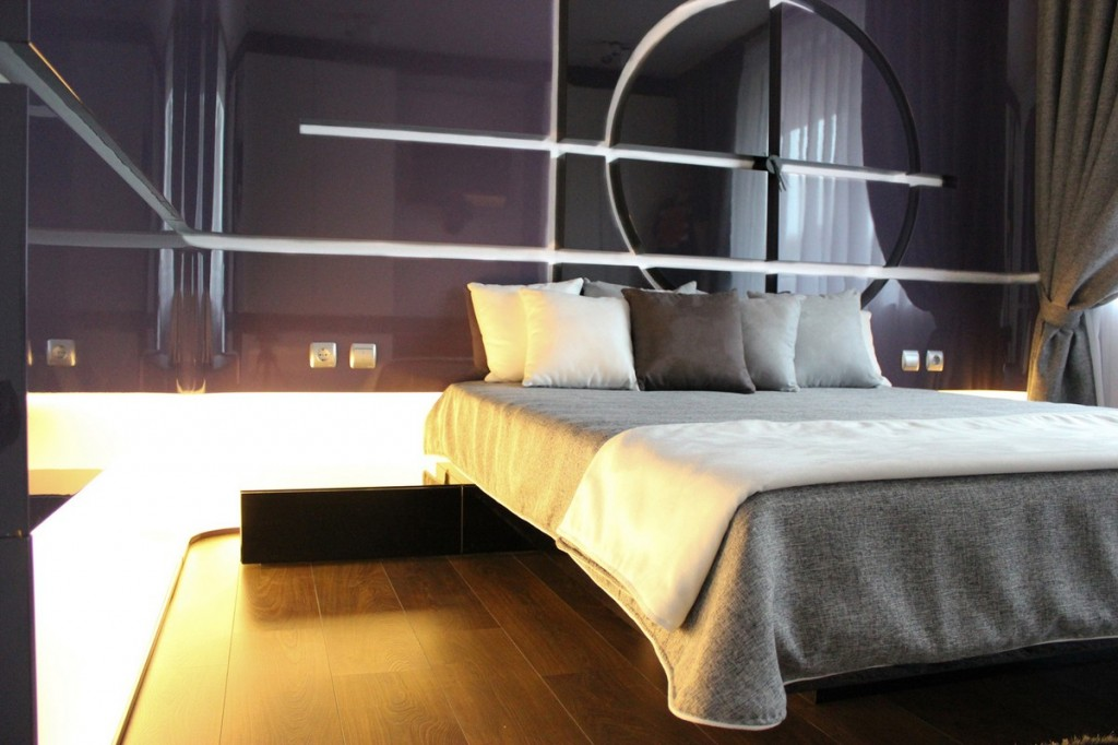 led illuminated contemporary bedroom-Interior Design of Apartment in Bulgaria