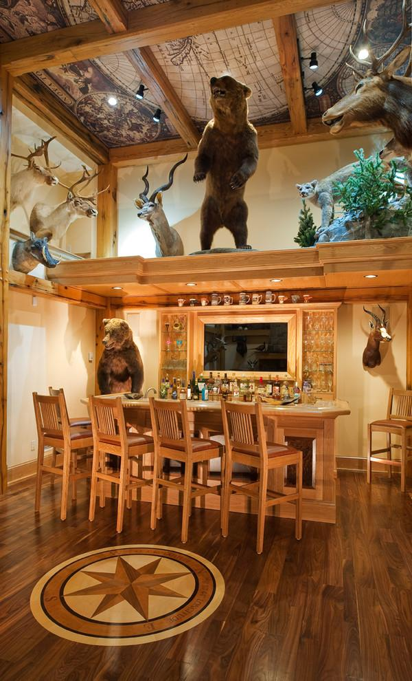 Modern home bar in natural wood color and with hunting trophies - Interior Design Trends - Having a Pub in the house