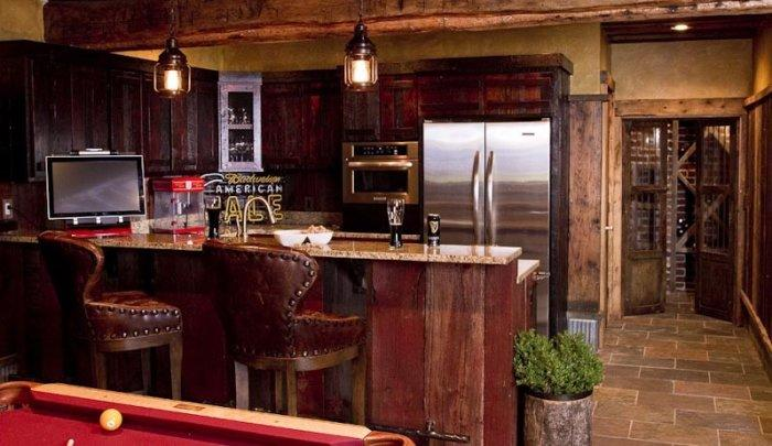 Modern home bar in rustic design with poker game screen on it - Interior Design Trends - Having a Pub in the house