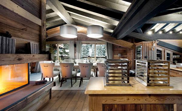 open-plan-living-room-interior-design- Le Petit Chateau in the French Alps