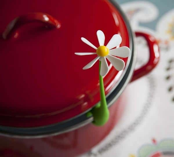 red-cooking-pot-with-beautiful-small-decorative-daisy- 15 Creative, Amazing and Functional Home Decorative Items