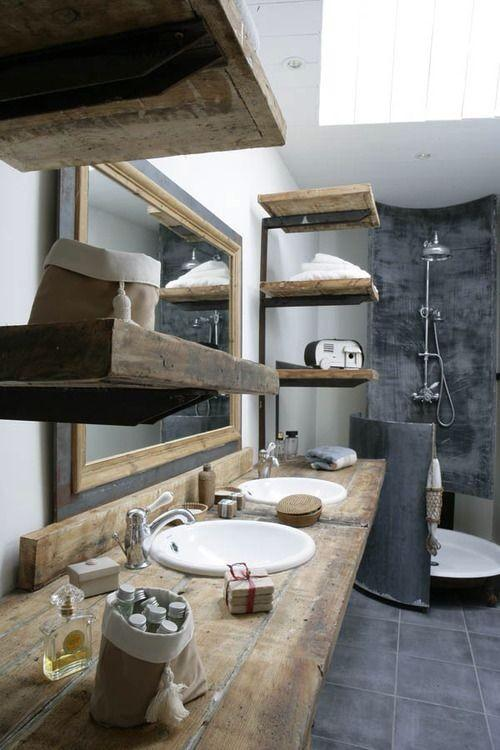 rustic bathroom vanity with metal faucets-Rough, yet elegant and authentic Private Room
