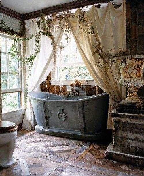 rustic bathroom with vintage metal bathtub-Rough, yet elegant and authentic Private Room