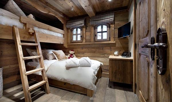 rustic-kids-bedroom-interior-in-a-mountain-cottage-in-France- Le Petit Chateau in the French Alps