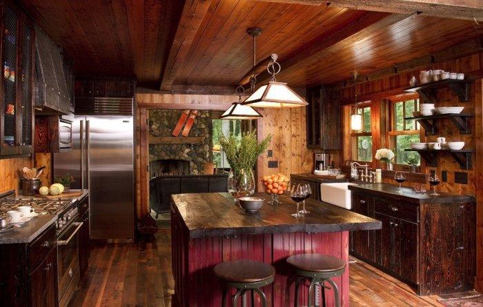 Rustic kitchen with dark interior and reclaimed wood countertops - 16 Advices and Examples for Creating a Cozy Atmosphere in the Cooking Areas