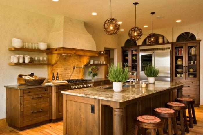Rustic kitchen with painted walls that give an illusion of age and textile - 16 Advices and Examples for Creating a Cozy Atmosphere in the Cooking Areas